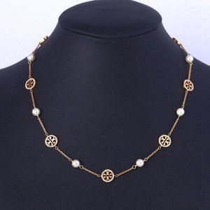 Tory Burch Gold Crystal Pearl Chain Necklace